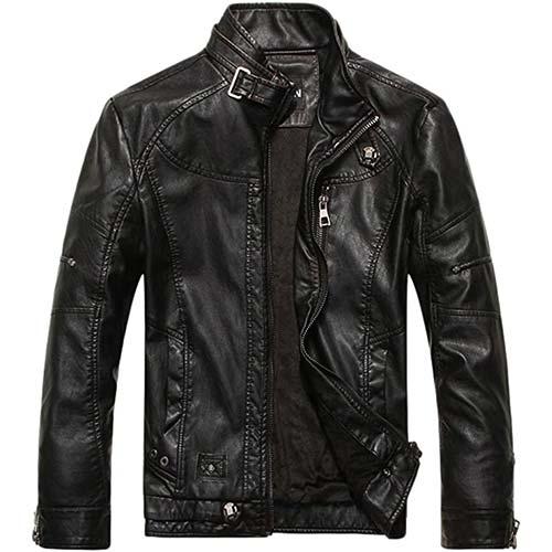 9. chouyatou Men's Vintage Stand Collar Pu Leather Jacket