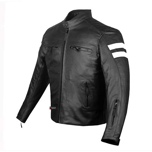2. New AXE Men's Leather Jacket Motorcycle CE Armor Biker Street Cruiser Safety XL
