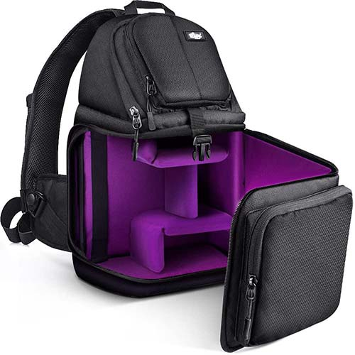 6. Qipi Camera Bag - Sling Bag Style Camera Case Backpack with Modular Inserts & Waterproof Rain Cover
