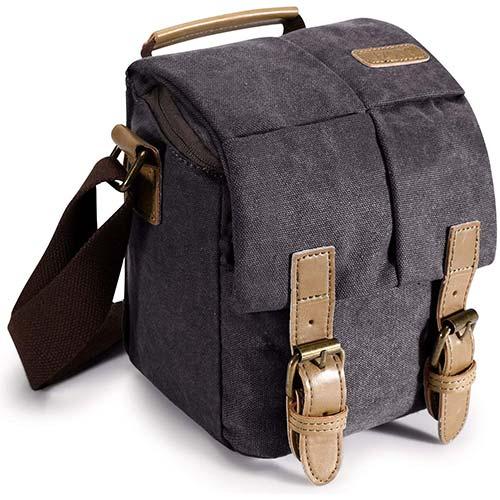 7. S-ZONE Waterproof Camera Bag Canvas Leather Trim Compatible With DSLR SLR Camera Messenger Bag