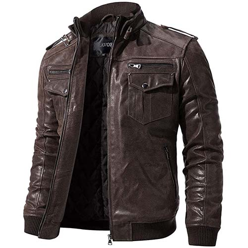 6. FLAVOR Men Biker Retro Brown Leather Motorcycle Jacket Genuine Leather Jacket