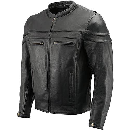 10. Men's Leather Crossover Scooter Jacket w/Removable CE Armor | Premium Natural Buffalo Leather