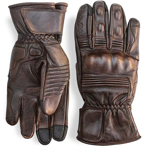 3. Premium Leather Motorcycle Gloves (Brown) Cool, Comfortable Riding Protection, Full Gauntlet