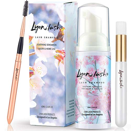 6. Eyelash Extension Shampoo 60ml + Brush + Mascara Wand - Lyon Lash Eyelid Foam Cleanser/Gentle Formula