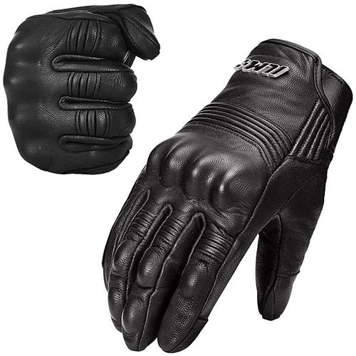 5. ILM Goatskin Leather Motorcycle Motorbike Powersports Racing Gloves Touchscreen for Men and Women Black