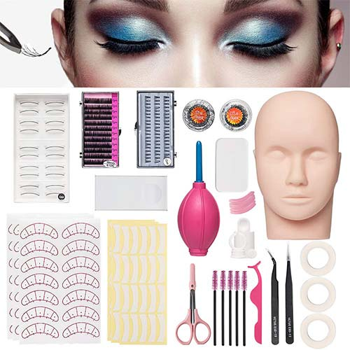 4. Mannequin Training Head False Eyelashes Extension Practice Set Make Up Eye Lashes Train Model Graft Kits