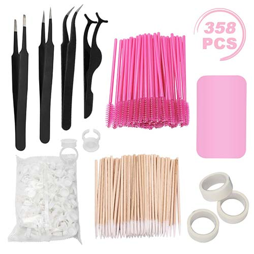 7. Eyelash Extension Kit, including Stainless Steel Precision Tweezers Set, Disposable Eyelash Mascara Brush Wand, Cotton Swabs