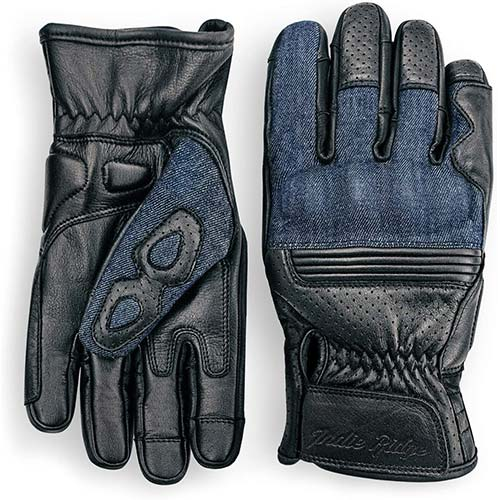 10. Denim & Leather Motorcycle Gloves (Black) With Mobile Touchscreen by Indie Ridge (Large)