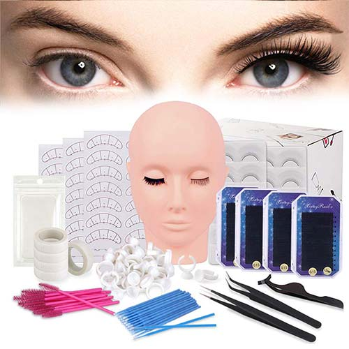 9. False Eyelashes Extension Practice Exercise Set, TopDirect Flat Mannequin Head Kit for Makeup Training, Eyelash Graft