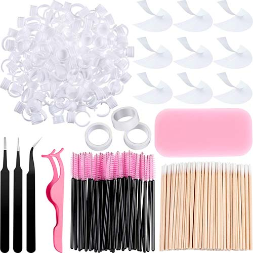 5. 374 Pieces Eyelash Extension Kit Includes Disposable Eyelash, Mascara Brushes Wands, Stainless Steel Eyelash Tweezers, and Cotton Swabs