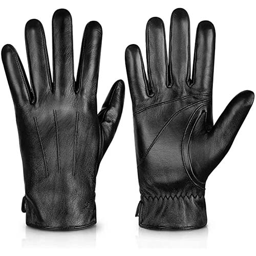 6. Genuine Sheepskin Leather Gloves For Men, Winter Warm Touchscreen Texting Cashmere Lined Driving Motorcycle Gloves ByAlepo
