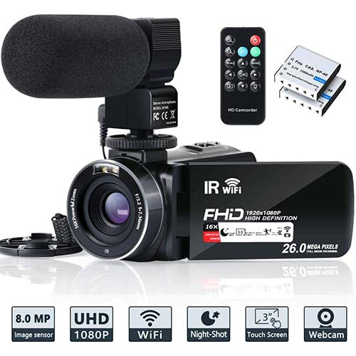 5. Video Camera Camcorder WiFi IR Night Vision FHD 1080P 30FPS YouTube Vlogging Camera 16X Digital Zoom