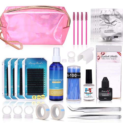 1. Eyelash Extension Kits, MYSWEETY Full Professional Eyelash Extensions C Curl Eyelahes Lashes Strip Graft Glue Lint-Free