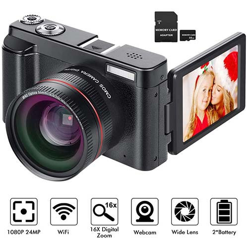 3. Digital Camera YouTube Vlogging Camera HD 1080P 24MP Video Camcorder 16X Digital Zoom with 2xBattery