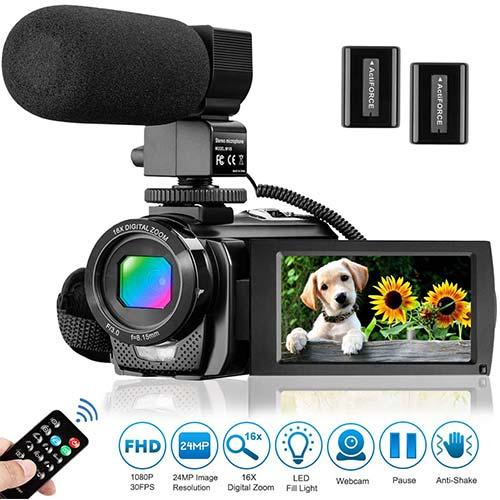 9. Video Camera Camcorder for YouTube, Aasonida Digital Vlogging Camera FHD 1080P 30FPS 24MP 16X Digital Zoom