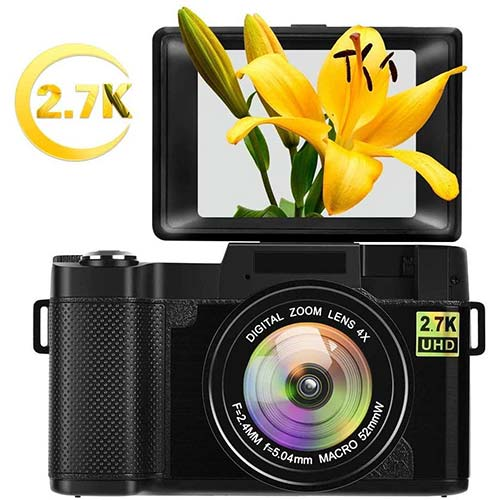 2. Digital Camera Vlogging Camera for YouTube with Flip Screen 2.7K 24.0MP 3.0 inch Camera Retractable Flashlight