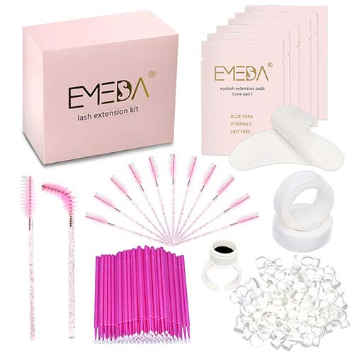 10. EMEDA Eyelash Extension Kit, 4 x 100PCS Under Eye Gel Patches, Disposable Eye Mascara Brush Wands, Micro Applicators Brush