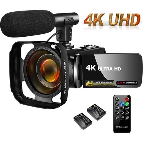 7. SAULEOO Video Camera Camcorder 4K 30MP Digital Camcorder Camera with Microphone Ultra HD Vlogging Camera