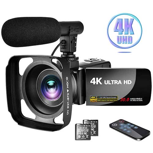 6. Camcorder 4K Video Camera with Microphone Vlogging Camera YouTube Camera Recorder