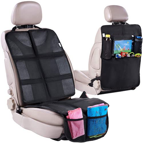 7. Car Seat Protector + Rear Seat Organizer For Kids - Waterproof & Stain Resistant Protective Backseat Kick Mat