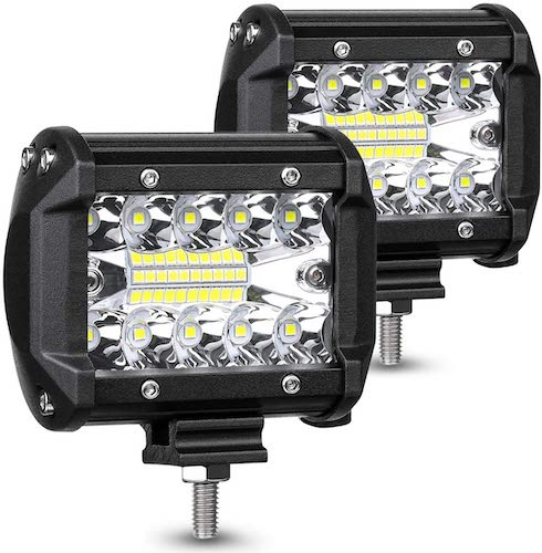 6. AMBOTHER LED Pods Light Bar 4-Inch 120-watt 12800-lumen Driving Fog Off Road Lights