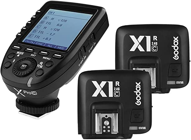3. Godox Xpro-C 2.4G X System TTL Wireless Flash Trigger Transmitter & 2 X1R-C Controller Receiver for Canon Flash