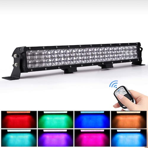 2. WEISIJI LED Light Bar 20inch 252W Straight 6000K Spot Flood Combo Beam RGB LED Work Light Bar