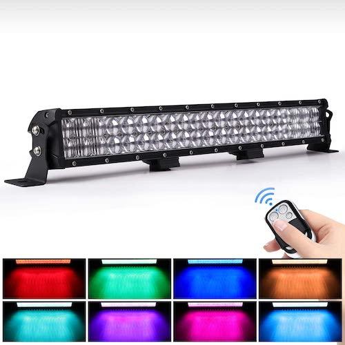 2.WEISIJI LED Light Bar 20inch 252W Straight 6000K Spot Flood Combo Beam RGB LED Work Light Bar