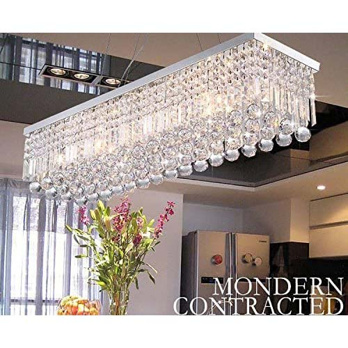 9. CRYSTOP Rectangle Crystal Chandeliers Dining Room Modern Ceiling Light