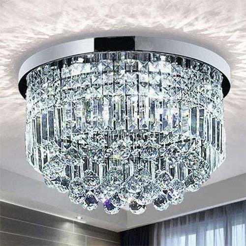 6. Saint Mossi Modern K9 Crystal Raindrop Chandelier Lighting Flush Mount LED Ceiling Light Fixture Pendant Lamp