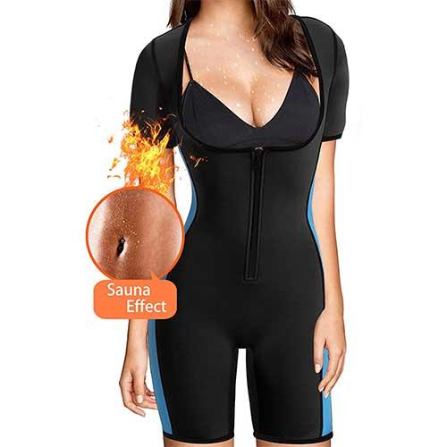 10. BRABIC Women's Full Body Shaper Sport Sweat Neoprene Suit, Waist Trainer Bodysuit