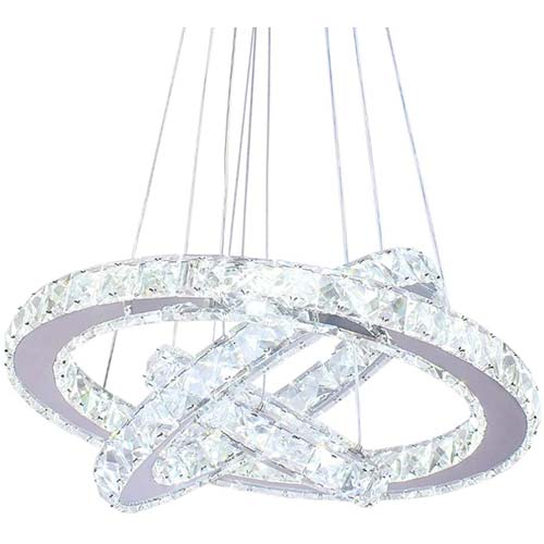 5. Dixun LED Modern Crystal Chandeliers 3 rings LED Ceiling Lighting Fixture Adjustable Stainless Steel Pendant Light
