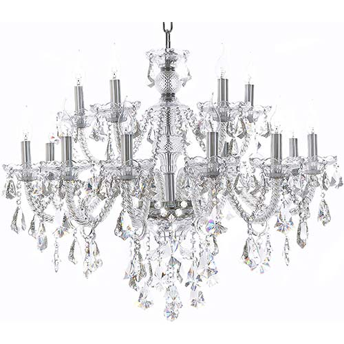 1. Clear 15 Lights K9 Crystal Chandelier Modern Luxurious Light Candle Pendant Lamp Ceiling Living Room Lighting