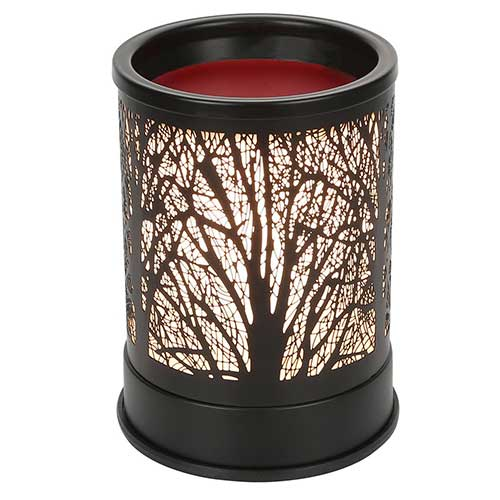 4. Foromans Wax Melts Candle Warmer Classic Black Metal Forest Design Fragrance Oil Warmer Lamp
