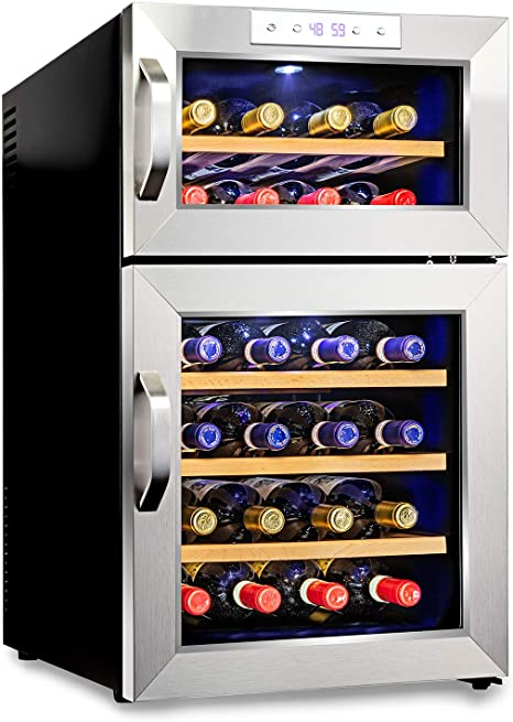 8. Ivation Premium Stainless Steel 24 Bottle Dual Zone Thermoelectric Wine Cooler/Chiller