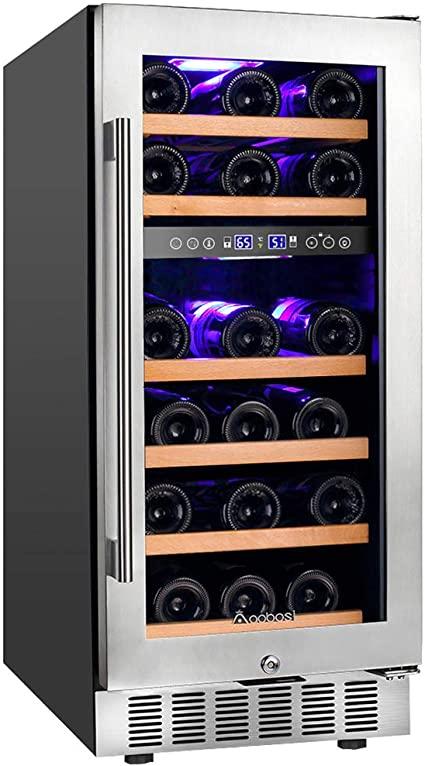 1. 【Upgraded】Aobosi 15 Inch Wine Cooler, 28 Bottle Dual Zone Wine Refrigerator