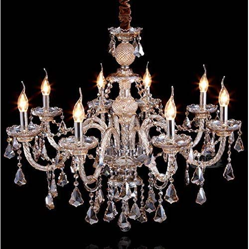 10. Cognac 8 Lights K9 Crystal Chandelier Modern Luxurious Light Candle Pendant Lamp Ceiling Living Room Lighting