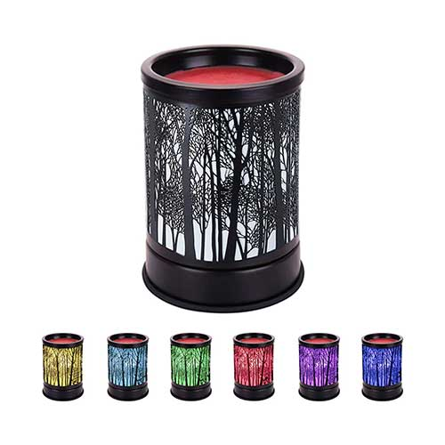 8. COKI Electric Candle Warmer, Black Metal Forest Tart Burner with 7 Color Changing Night Light, Wax Melt Warmer