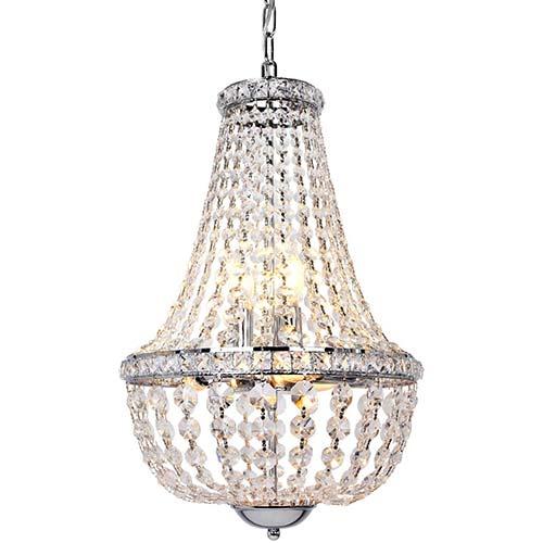 7. Hykolity 6-Light Crystal Pendant Chandelier Lighting, 13.5 inch Modern French Empire Ceiling Light Fixture Chrome