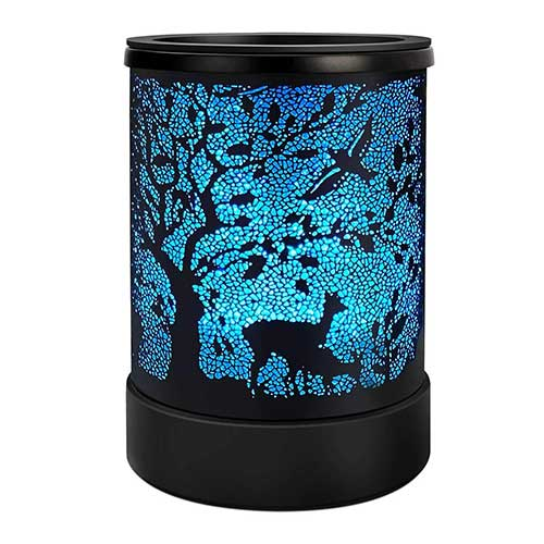 10. Foromans Scented Wax Melts Warmer with 7 Colors Changing Led Light Black Forest & Elk Design Tart Candle Warmer