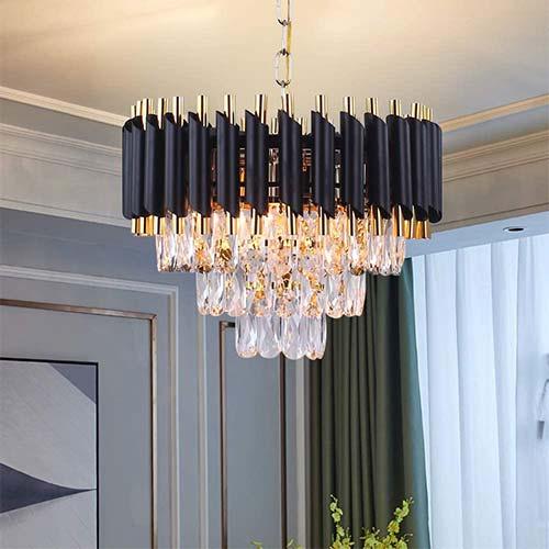 4. FRIXCHUR Modern K9 Crystals Chandelier Round Crystal Pendant Light Fixture Flush Mount Ceiling Light 3 Tiers Raindrop Lighting