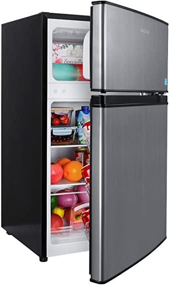 7. Compact refrigerator, TACKLIFE 2 Door Mini Fridge with Freezer, 3.1 Cu.Ft