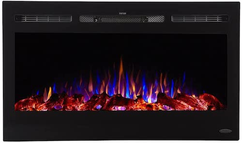 5. Touchstone Sideline Recessed Mounted Electric Fireplaces (36 Inches)