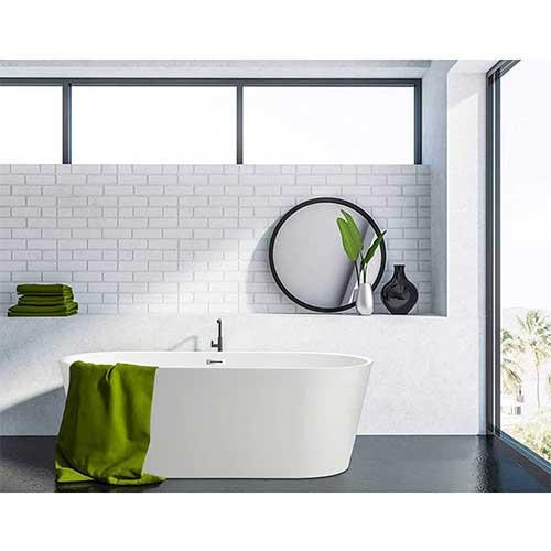 9. Vanity Art 59 Inch Freestanding Acrylic Bathtub Modern Stand Alone Soaking Tub