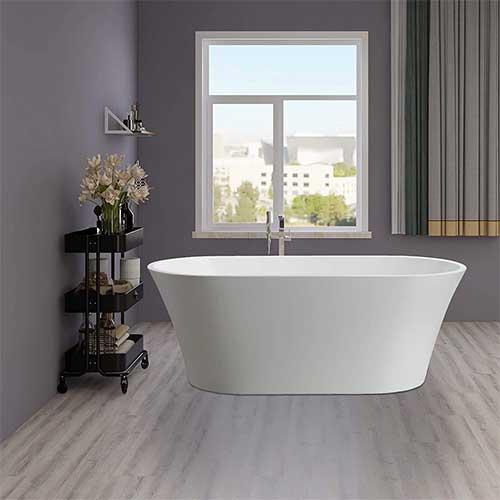 2. Vanity Art 62.2 Inch Freestanding Acrylic Bathtub Modern Stand Alone Soaking Tub