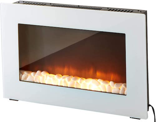 6. Cambridge Callisto 30 In. Wall-Mount Electric Fireplace in White with Crystal Rock Display