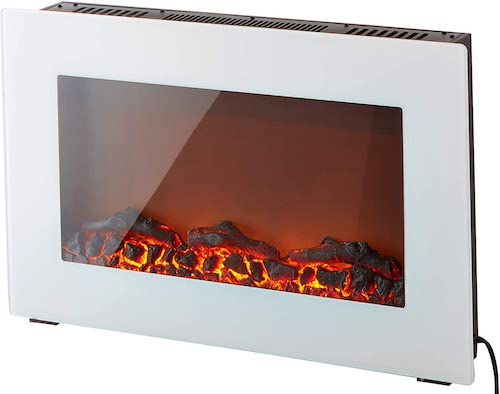 8. Cambridge CAM30WMEF-2WHT Callisto 30 In. Wall-Mount Electric Fireplace in White with Realistic Log Display