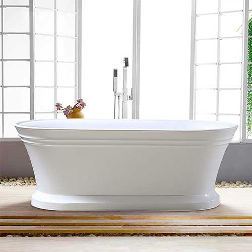 1. Vanity Art 59 Inch Freestanding Acrylic Bathtub Modern Stand Alone Soaking Bathtub