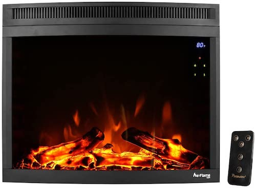 9.e-Flame USA Edmonton 28-inch Curved LED Electric Fireplace Stove Insert with Remote - 3-D Log and Fire Effect