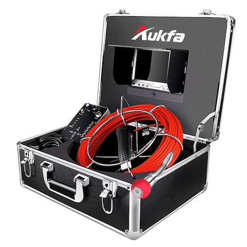 2. Aukfa Sewer Borescope Camera 65ft with Distance Counter Snake Cam Video Sewer Pipe Inspection Equipment
